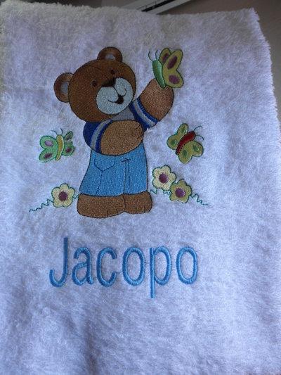 Asciugamano bianco personalizzato con nome,accessori scuola