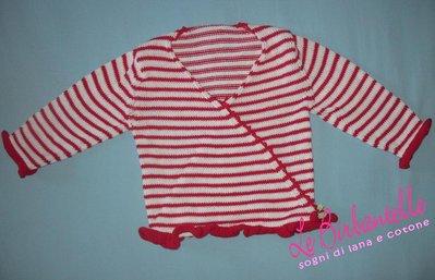 Incrociato in cotone a righe bianche e rosse per bambina (taglia 3 anni)