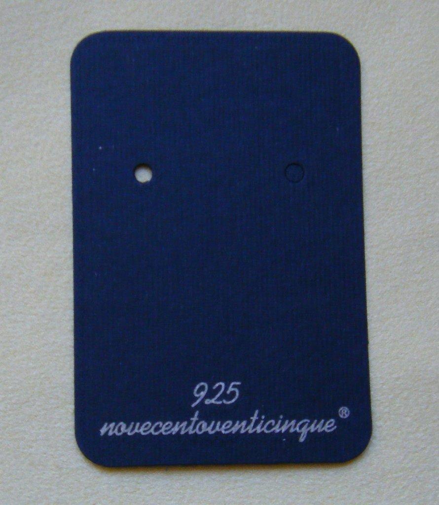 Cartoncini blu  Espositori per Orecchini, con la scritta  argento 925
