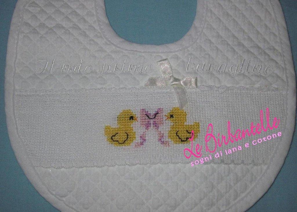 Bavaglino neonata con paperelle