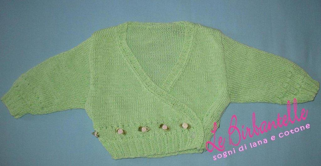 Scaldacuore in cotone verde con roselline (taglia 3 - 6 mesi)