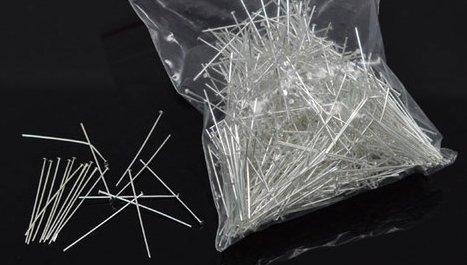 """100 Chiodini Spilli con Testa Piatta Argentato 28(1-1/8"""")x0.5mm"""