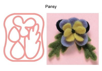 Needle Felting Applique Mold Pansy