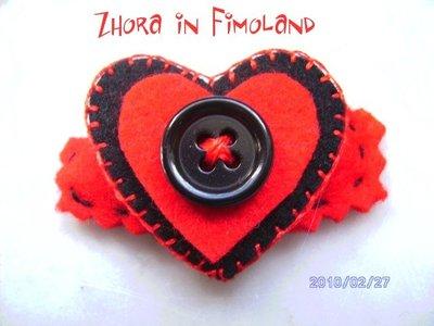 Mollettina a clip rivestita in feltro (100% lana) con cuore