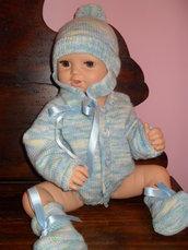 completo in lana baby fatto a mano 0-3 mesi