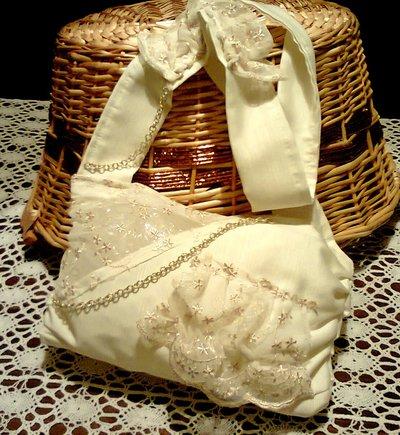 elegante borsa in tessuto con pizzo voilant e catenella dorata