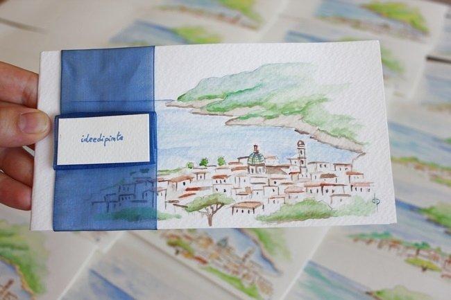 Partecipazioni matrimonio dipinte - Costiera Amalfitana