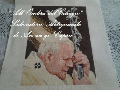"""Quadro a punto croce """"Papa Giovanni Paolo II"""""""