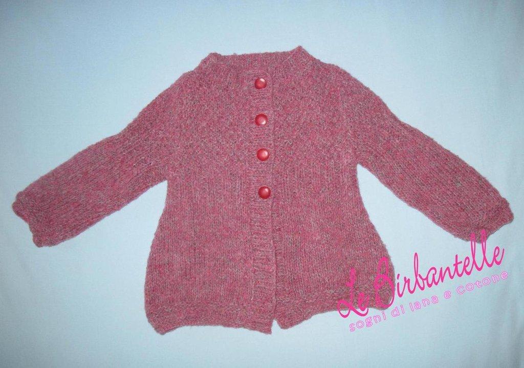 cardigan di lana lavorato a mano per bambina (taglia 3-4 anni)