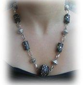 collana nero e argento con perle jaipur
