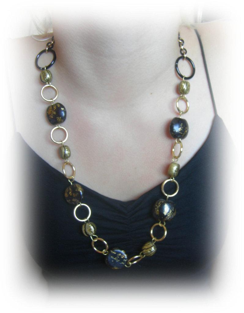 collana in perle di jaipur nero e oro