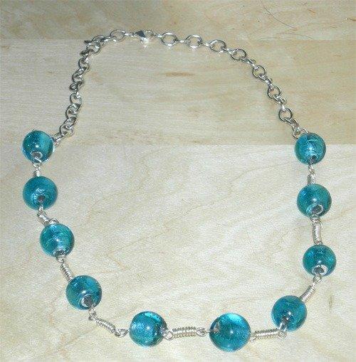 collana perle di vetro turchesi e catena argento