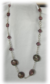 collana perle vetro viola
