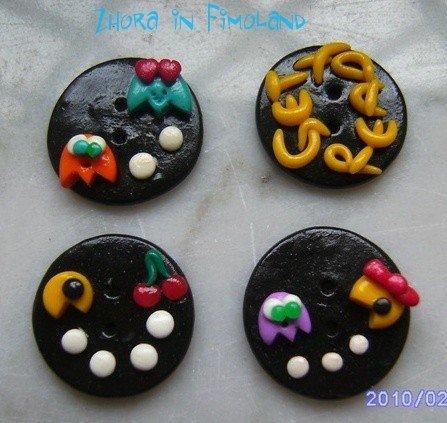 Bottoni Pac Man (set di 4)