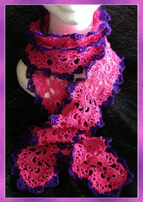 Sciarpa in cotone fuxia e viola