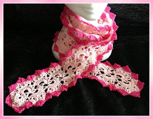 Sciarpa in cotone rosa e fuxia