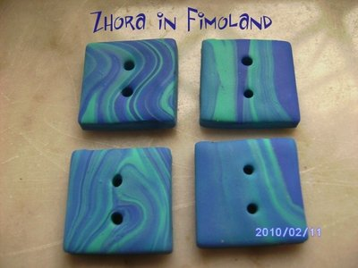 Bottoni quadrati sui toni del blu (set di 4)