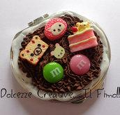 Specchietto da Borsa Kawaii- Tondo Rilakkuma, orso, ciambella, torta, cioccolato, panna