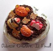 Specchietto da Borsa Kawaii- Cuore Rilakkuma, orso, ciambella, torta, cioccolato, panna
