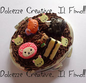 Specchietto da Borsa Kawaii- Rotondo Rilakkuma, torta, cute, dolci, miniature