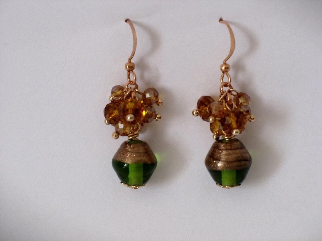 orecchini verde bottiglia