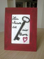 Quadretto con chiave e messaggio d'amore