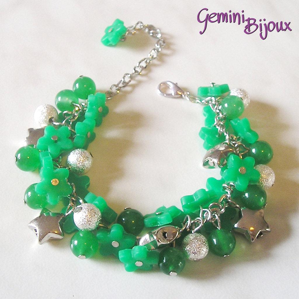 Bracciale a grappolo fiori di fimo verde gioielli for Fiori a grappolo