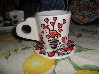 minimug romantica - interamente realizzata e decorata a mano