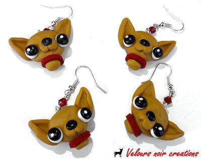 Orecchini cane chihuahua con collarino rosso