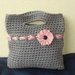Borsa in fettuccia a righine con fiocco rosa, in regalo portachiavi   borsettina.