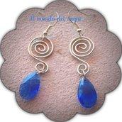 Orecchini wire con goccia blu perla + OMAGGINO!