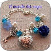 Bracciale perle bianche blu e rosa blu FIMO polymer clay+SCATOLINA REGALO
