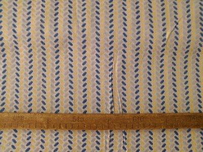 Taglio scampolo stoffa cotone operato chicchi giallo blu bianco vintage anni 70