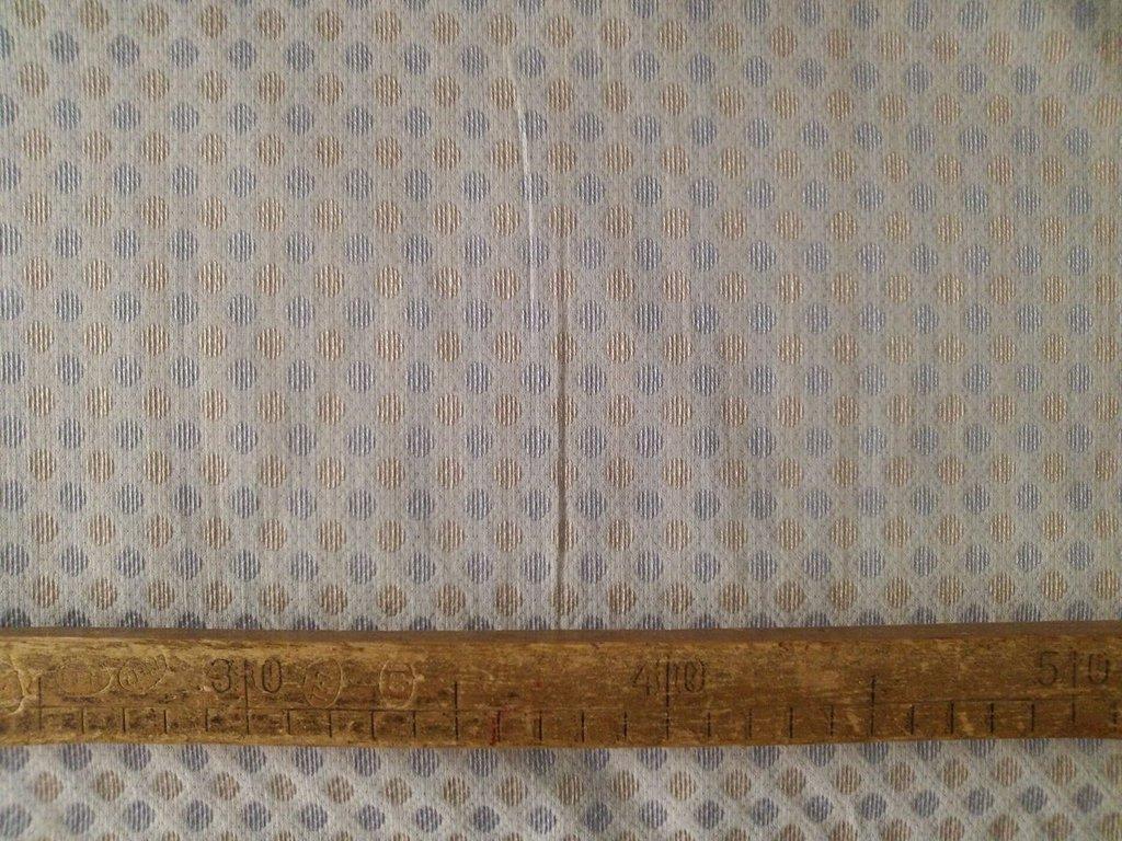 Taglio scampolo stoffa cotone operato quadrati azzurro bronzo bianco vintage anni 70