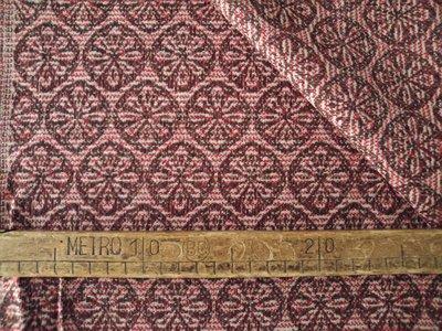 Taglio scampolo stoffa lana motivi rossi rotondi vintage anni 70