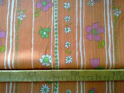 Taglio scampolo stoffa cotone arancio righe e fiori vintage anni 70