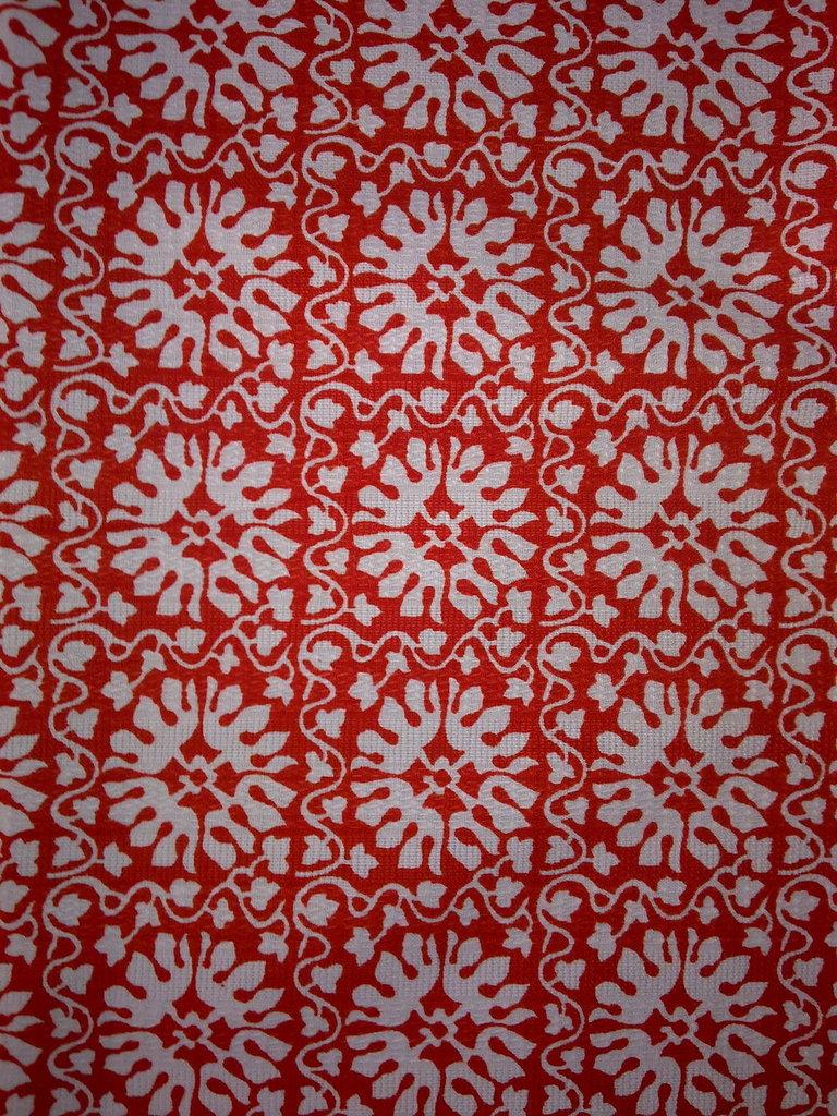 Taglio scampolo stoffa cotone motivi rossi tipo tirolo montagna vintage anni 70