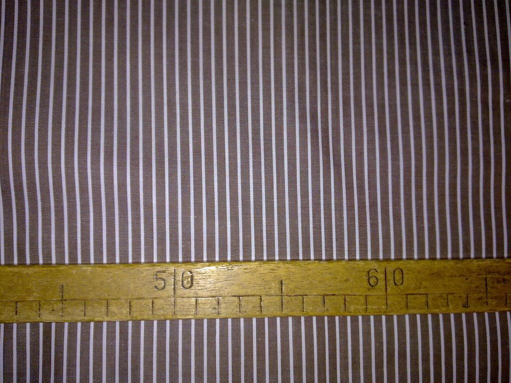 Taglio scampolo stoffa cotone popeline marrone righe bianche vintage anni 70