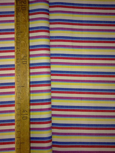 Taglio scampolo stoffa cotone righe bianco blu azzurro lilla rosso giallo vintage anni 70