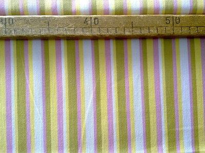 Taglio scampolo stoffa cotone righe bianco rosa giallo verde vintage anni 70
