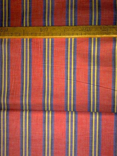 Taglio scampolo stoffa cotone righe rosso nero blu giallo vintage anni 70