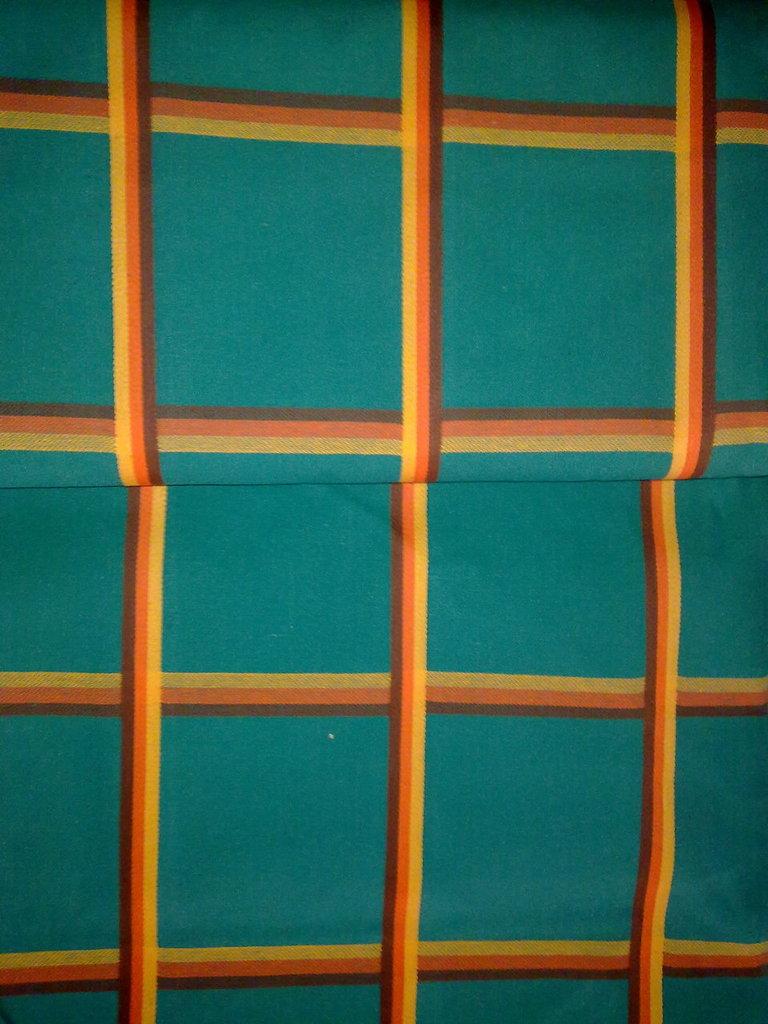 Taglio scampolo stoffa cotone pesante verde verdone quadrati vintage anni 70