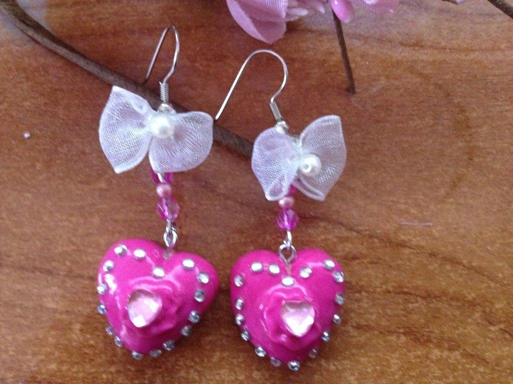 orecchini cuore con strass