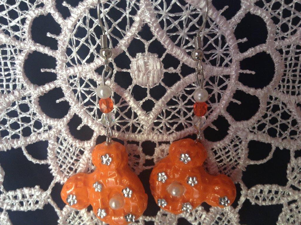 orecchini viso minny con fiorellini di strass