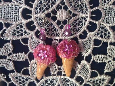 orecchini gelato fragola con fiore di strass