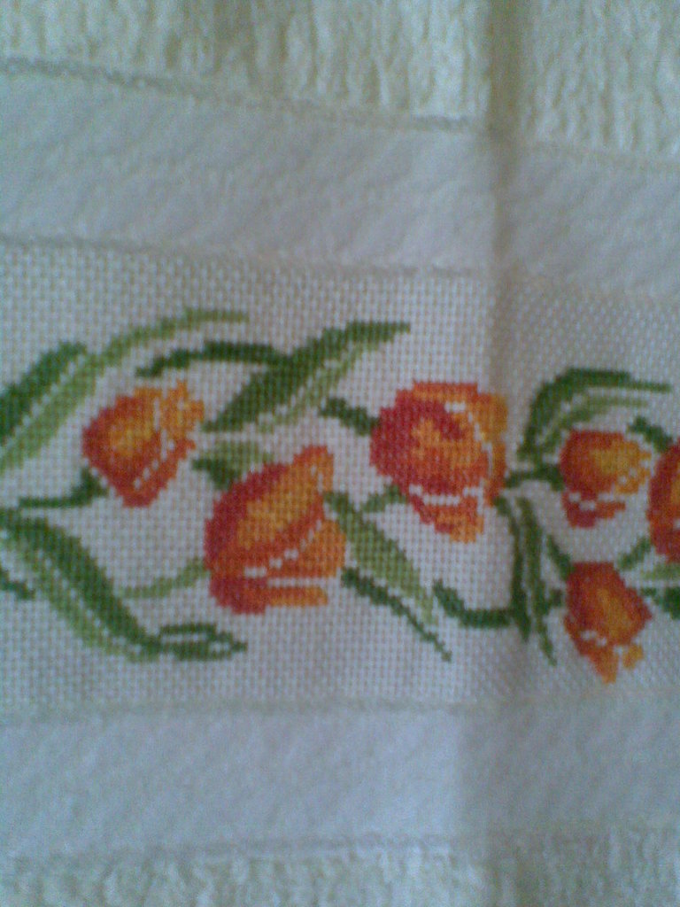 Asciugamani con tulipani