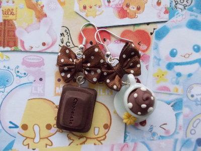 Orecchini in fimo cioccolato + tazza