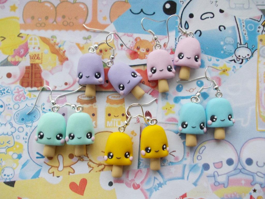 Ghiaccioli disponibili in diversi colori in fimo orecchini pendenti