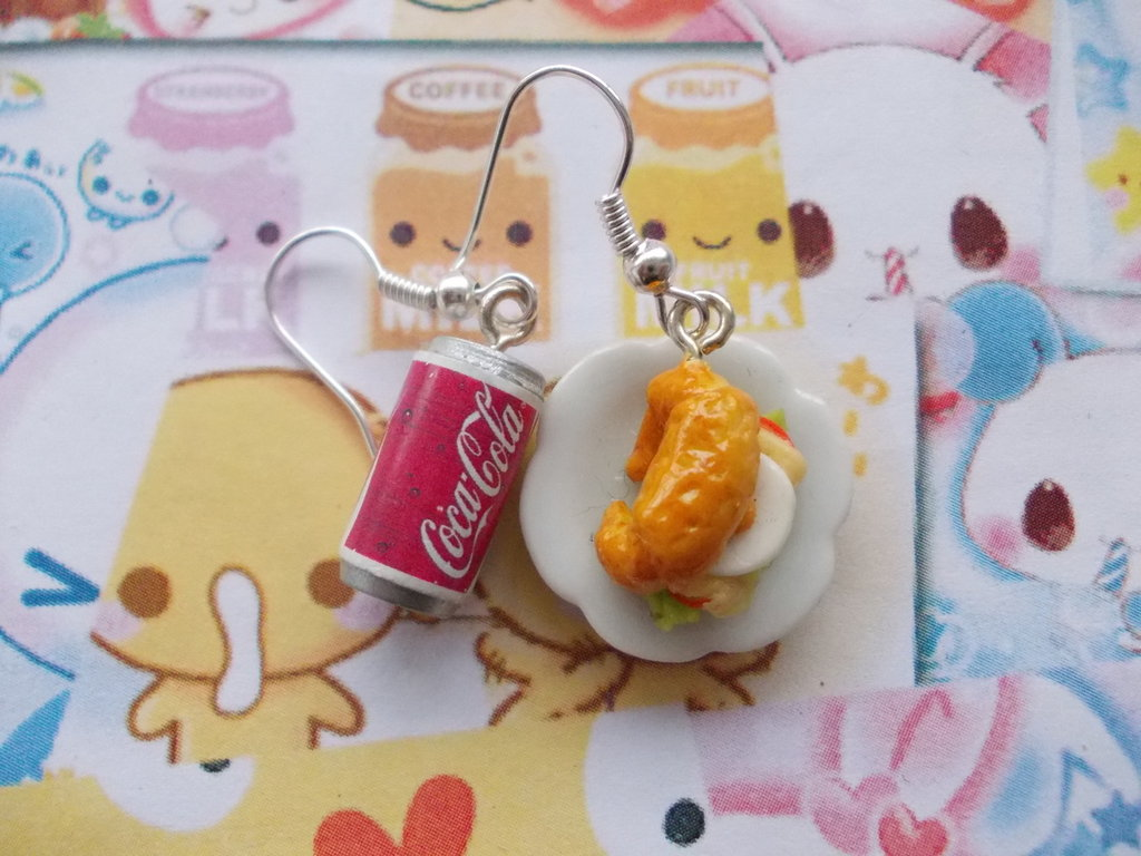 Orecchini brioches + lattina coca cola