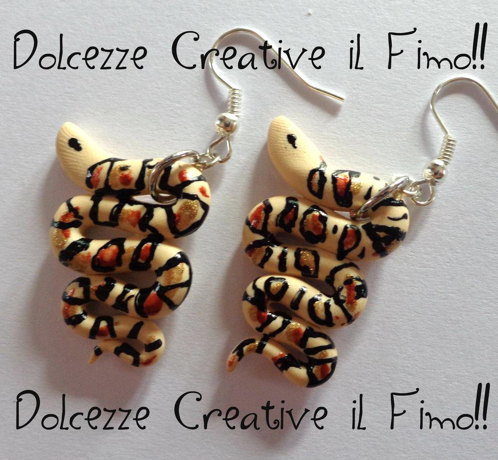 ★★SALDI Orecchini Serpente realistico handmade kawaii